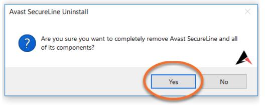 Confirm Uninstall Avast antivirus