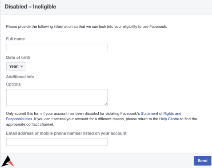 Facebook Disabled Ineligible Form