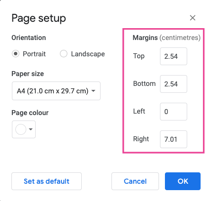 Page Margins Setup In Google Docs
