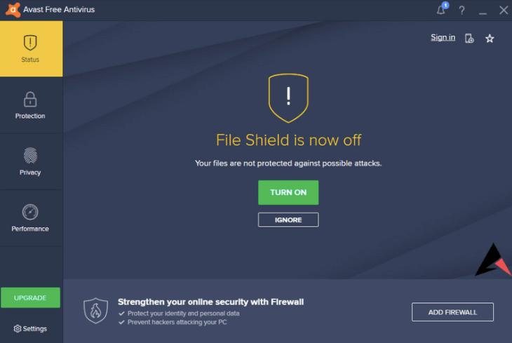Turn Off Avast File Shield